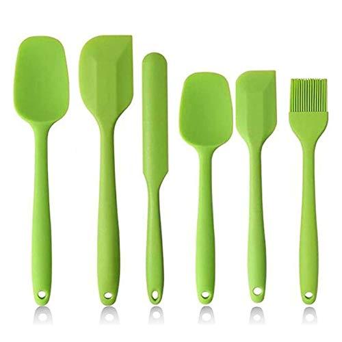 Set di 6 Spatole in Silicone per Cucina, Spatole in Silicone Antiaderente ad alta Resistenza al Calore BPA Set per Cottura, Cottura e Miscelazione, con Robusto Design in Acciaio Inossidabile. (verde)