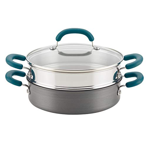 Rachael Ray Create Delicious Hard Anodized Nonstick Multi-Pot/Steamer Set, 3 Piece, Gray With Teal Handles