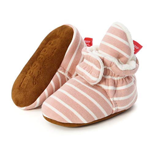 EDOTON Unisex Neugeborenes Schneestiefel Weiche Sohlen Streifen Bootie Kleinkind Stiefel Niedlich Stiefel Socke Einstellbar (0-6 Monate, Streifen - Rosa)