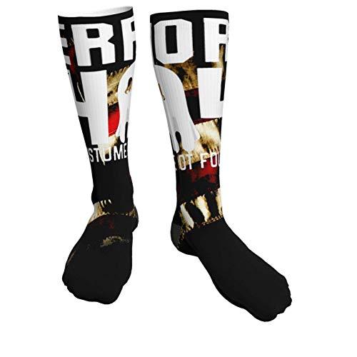 BOTAO Errores-404 - Disfraz no Encontrado - Calcetines Deportivos de tacn Negro Grueso Unisex de Halloween Medias hasta la Rodilla de 50 cm