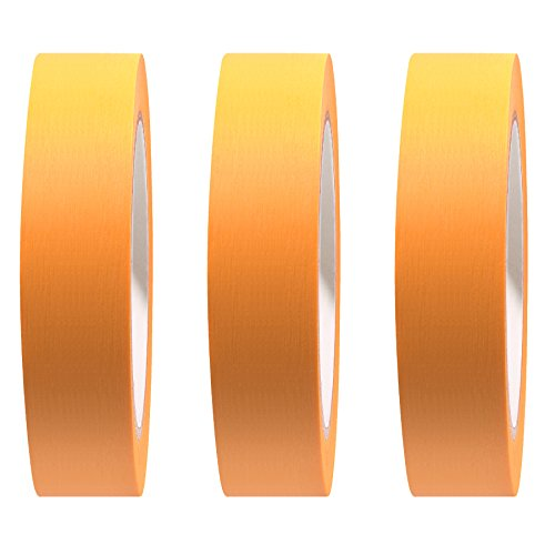 RBmalerbedarf 3er-Set PREMIUM Goldband Fineline Tape Abdeckband 30 mm UV beständig 3 Rollen á 50 m
