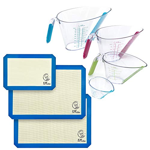 KPKitchen Silicone Baking Mats Set of 3 and 4-Piece Liquid Measuring Cups Set - 2 Half Sheets Mats + 1 Quarter Sheet Liner + Includes Mini Ounce, 1, 2 and 4 Plastic Measuring Cup Sizes