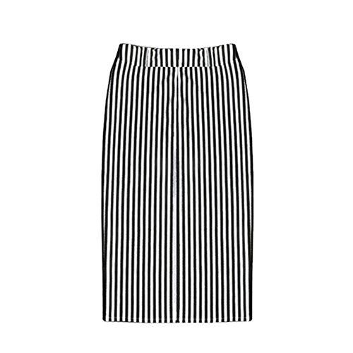 Women's Hip Rok/Zwart-Wit Verticale Strepen Rok Hoge Taille Split Knielange Rok,a,XXL