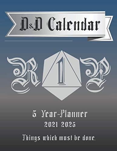 D&D Calendar: 5 Year Calendar 2021-2025, DnD Calendar, Gift for DnD Dad, Gift for DnD Dungeon Master