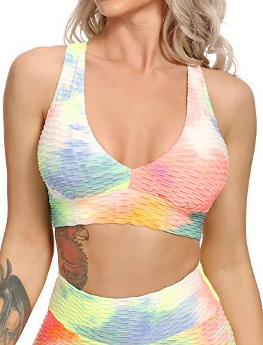 SEASUM - Sujetadores deportivos con textura de impacto medio para mujer, ideal para yoga, gimnasio, entrenamiento - Amarillo - Medium