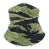 Women Men Teens Seamless Warmer Windproof UV Protection Neck Gaiter Bandana Balaclava Headwear Scarf Hat Face Cover for Outdoor Activities (Vietnam Tiger Stripe Camo)