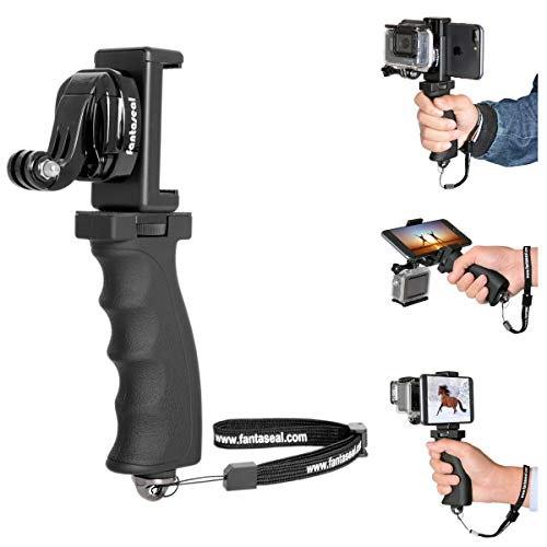 Fantaseal Ergonomic Action Camera Hand Grip Mount w/ Smartphone Clip Compatible with GoPro Grip GoPro Holder for GoPro Hero 8 7 6 5/4/3/Session Garmin Virb XE Xiaomi Yi SJCAM Handle Grip Selfie Stick
