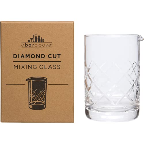 A Bar Above Mixing Glass for Stirred Cocktails Seamless (Diamond Cut), Thick & Durable mixing glass for Craft Bars & Professional Bartenders