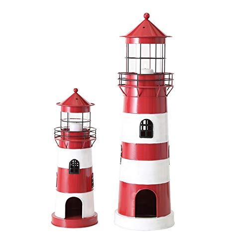 Metall Laterne Windlicht 2er Set Sortiert Leuchtturm H 42-64 cm rot weiß Eisen