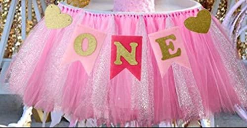 1st Birthday Girl Baby Tutu for High Chair Decoration and'ONE' Pennant Happy Birthday for Highchair