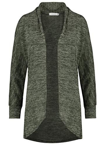 Sublevel Damen Long-Cardigan Jacke mit Wasserfallkragen Green M