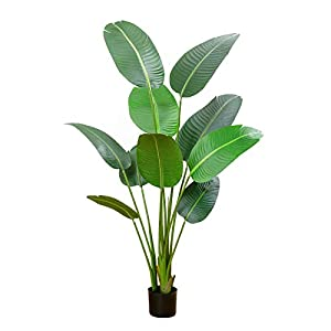 Silk Flower Arrangements Kissilk Artificial Silk Bird of Paradise Palm Tree Potted Plant Fake Tropical Palm Tree Perfect Faux Plants for Indoor Outdoor, Home Garden Office Decoration,5 Feet-1 Pack (5 Feet-1 Pack)