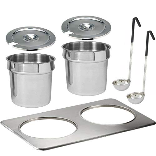 Tiger Chef Electric Food Warmer Soup Tureen Insert Kit Includes Insert, 2 7 Quart Inset Pots and Lids with Slot for Ladles, 2 Soup Ladles