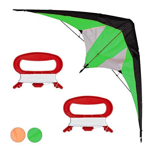 Relaxdays Lenkdrachen, Zweileiner, groß, Kinder & Erwachsene, Deltadrachen, 30 m Schnur mit Spule, Kite 170x66 cm, grün