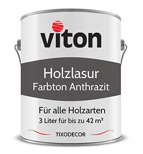 3 Liter Holzlasur von Viton - Farbe Anthrazit - 3in1 Seidenmatt - Holzschutzlasur, Lasur für Holz - Extra starker Schutz für Innen und Außen - Wetterfest, Atmungsaktiv & UV-beständig - Tixodecor