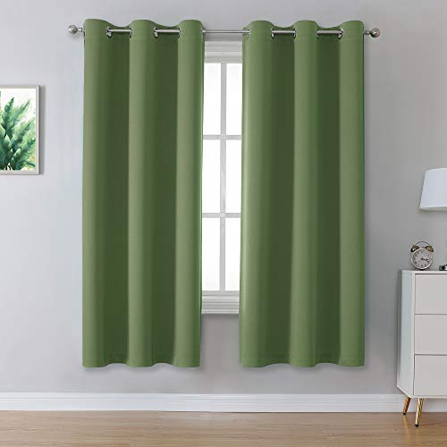 Sage Green Curtains with Grommet Solid Sage Green Curtains Blackout for Bedroom 63 Inch Length Thermal Insulated Blackout Room Darkening Curtains Drapes 42 x 63 Inches Long