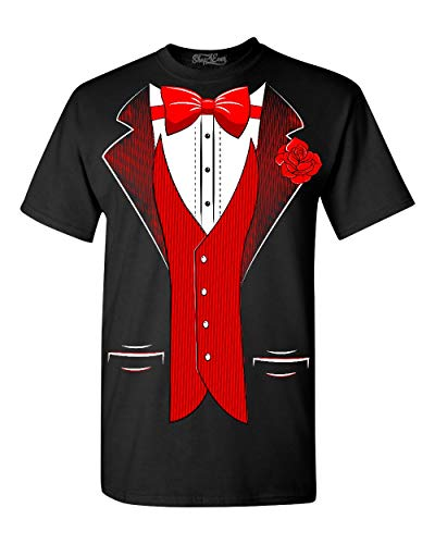 shop4ever Classic Tuxedo with Red Rose T-Shirt Party Costume Shirts Large Black 0