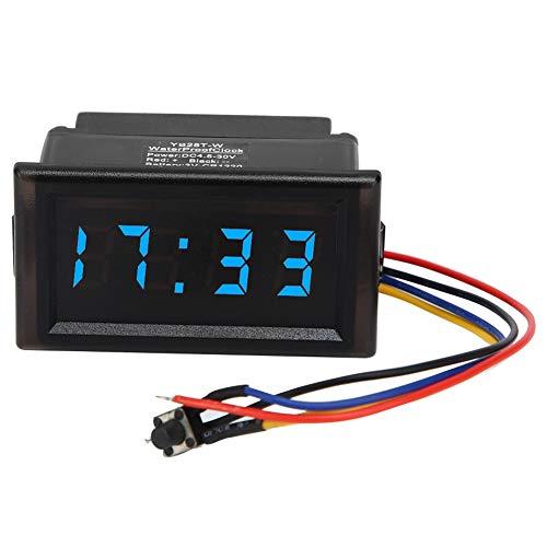 Digitaluhr für Auto, DC4.5-30V Wasserdichtes staubdichtes Auto Auto elektronische Uhr LED Digitalanzeige(Blau)
