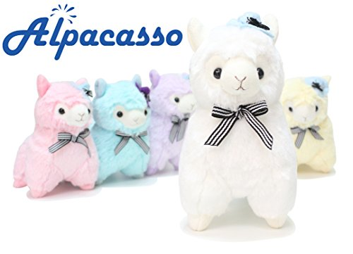 "Alpacasso 6.7"" White Plush Alpaca, Cute Stuffed Animals Toys.(Scarf and Hat)"