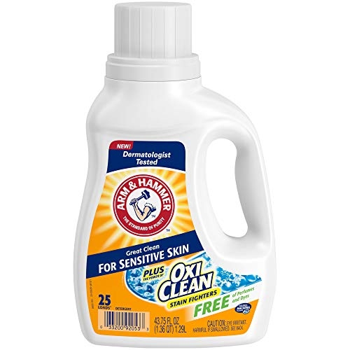 Arm & Hammer Plus OxiClean Free & Clear Sensitive Skin, 25 Loads Liquid Laundry Detergent, 43.75 Fl oz