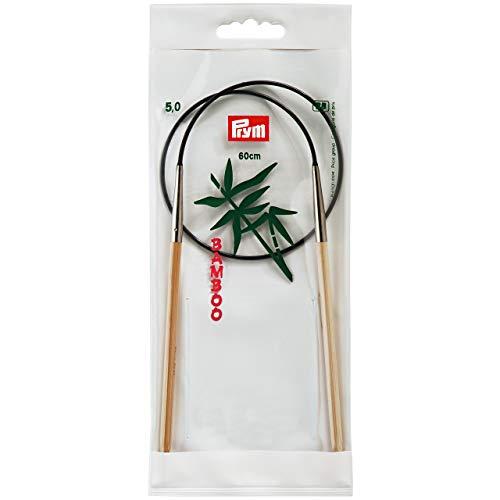 Prym 221518 Rundstricknadeln, 60 cm, 5,00 mm Rundstricknadel, Bambus, Natur, 5 mm