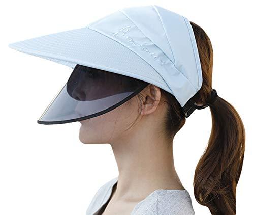 EOZY Visière Chapeau Soleil Femme Homme Sport Outdoor Tennis Golf Casquette Protection Écran Facial Anti-Poussière Transparente (Bleu Lettre Broderie)