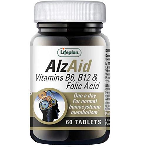Lifeplan AlzAid Vitamins B6, B12 & Folic Acid Tablets x 60. Reduces Tiredness & Fatigue. for Normal Psychological Function