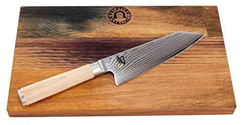 Palatina Werkstatt ® Kai Shun Classic White Kiritsuke | DM-0777W | ultrascharf und limitiert | Kochmesser | 15 cm Klinge aus 32-Lagen Damaststahl | + robustes Eichenbrett 30 x18 cm | VK: 226,- €
