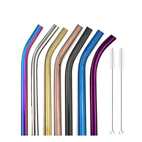 XDZW 10 Uds Colorido 304 Juego de pajitas de Acero Inoxidable pajitas de Metal Reutilizables para Tubos de batido de té de Burbujas de Barra BentMixedColor