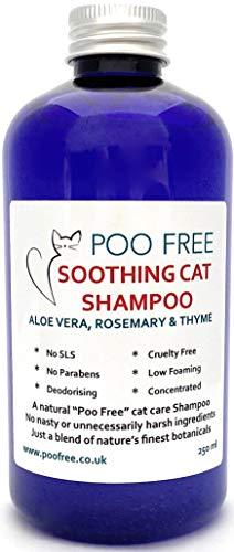 POO FREE Naturale Shampoo LENITIVO per Gatti - con Aloe Vera, Timo E ROSMARINO - 250ml Senza Solfati, Senza Parabeni, Senza Silicone. Concentrato, Pulisce, Calma, Idrata, Allevia Il Prurito.