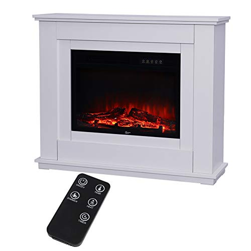 Electric Fireplace with Surround, 30 inch Electric Fireplace Suites with Fire Flame Effect, 900W/1800W Freestanding Electric Fire Stove Heater with Adjustable Thermostat Remote, 1000x279x825mm, White