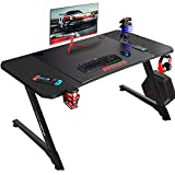 OFIKA Gaming Desk 44inch Z Shaped Computer Desk Racing Style Table Gamer PC Workstation with Free Mouse Pad & USB Gaming Handle Rack,Handle Rack Cup Holder, Headphone Hook (Black, 44inch)