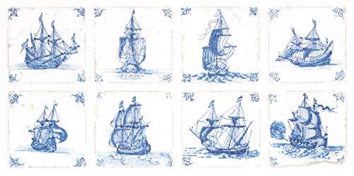 Thea Gouverneur - Gezählter Kreuzstich Kit - 482 - Vorsortierte DMC-Garne - Antike Holländische Fliesen Delfter Blau - Leinen - 60cm x 30cm - DIY Kit