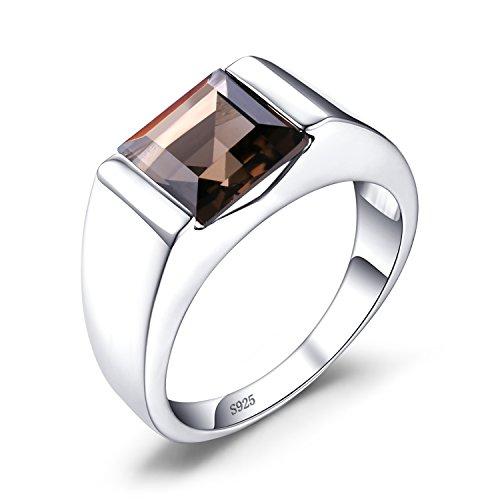 JewelryPalaces 3.4ct Luxus Gentleman Natürliche Braun Rauchquarz Man Herren Ringe Silberring Massivem 925 Sterling Silber