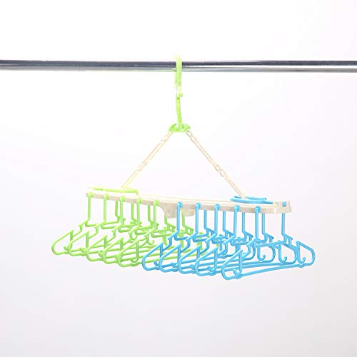 Sutekus赤ちゃん10連ハンガー キッズ ベビーハンガー ハンガーラック 洗濯ハンガー 折り畳み 取り外し10連ハンガー(グリーン&ブルー)