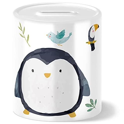 OWLBOOK Hucha con diseño de pingüino de safari, idea de regalo para niños, cumpleaños, Navidad, graduación, bautizo, nacimiento, hucha