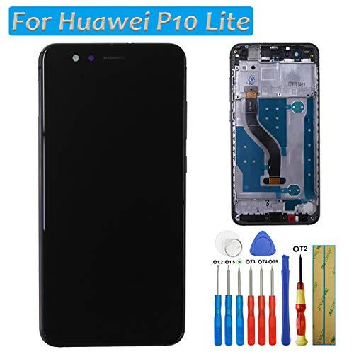 Melphyreal LCD Kompatibel mit Huawei P10 Lite LCD Bildschirm Touchscreen Glas Rahmen Schwarz + Werkzeuge