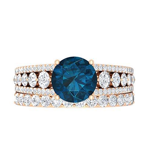 Conjunto de anillos de novia de topacio azul Londres, joyas de oro sólido, piedras preciosas redondas de 3,55 quilates, anillo de compromiso de solitario D-VSSI de 8 mm, 10K Oro rosa, Size:EU 62