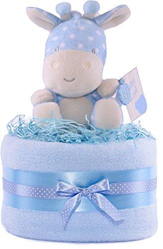 PureNappyCakes – Cesta de regalos para bebés azul y blanca con oso de peluche