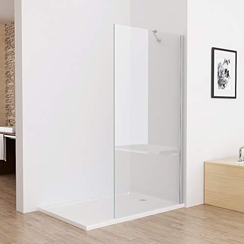 MIQU Walk in Dusche Duschwand Duschtrennwand Duschabtrennung 80 x 185 cm ESG NANO Glas SB80