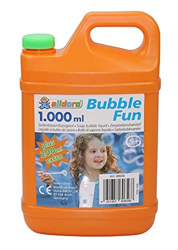 alldoro Bubble Fun 60656 - Liquido per bolle di sapone in tanica da 1200 ml, acqua saponata come 1,2 litri XL, tanica di ricarica per bolle colorate e grandi