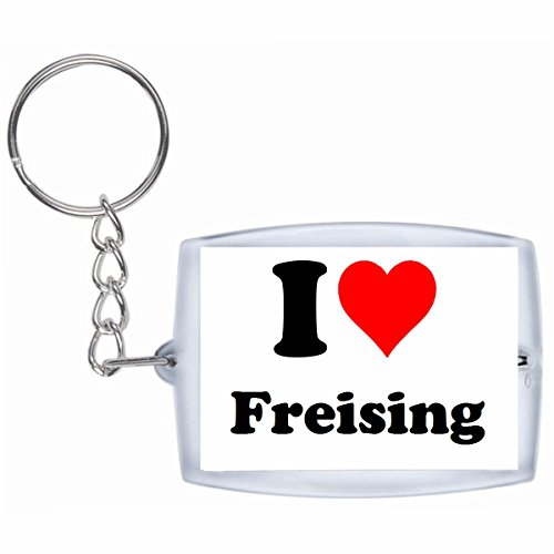 Druckerlebnis24 Schlüsselanhänger I Love Freising in Weiss - Exclusiver Geschenktipp zu Weihnachten Jahrestag Geburtstag Lieblingsmensch