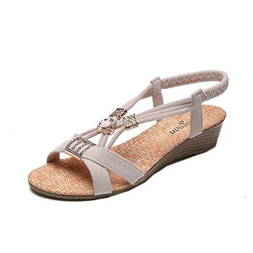 QINGXIA_ZI -- Femme Sandales Bout Ouvert, Chaussures de bohème perlées Décontractée Sandales de Plage à Style Tressée De Plein Air Sandales Bride Cheville Talons Soiree