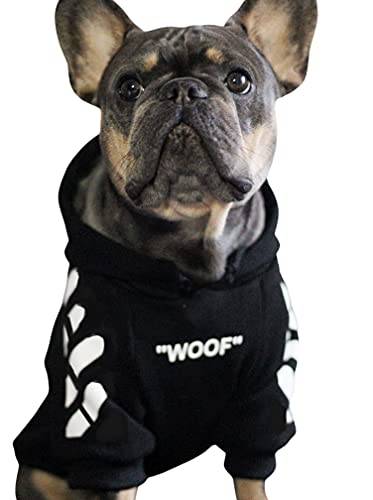 ChoChoCho Stylish Dog Hoodie Dog Clothes Streetwear Cotton Sweatshirt Fashion Outfit for Dogs Cats Puppy Small Medium Large (S, Black)