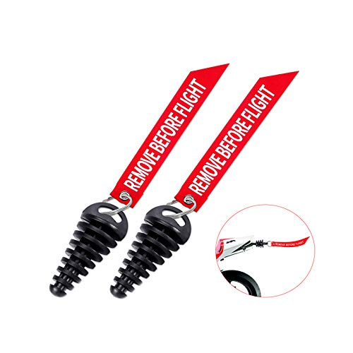 MELIFE 0.6'-1.5' Muffler Exhaust Wash Plug, Motorcycle Dirt Bike 2 Stroke with Streamer Rubber Exhaust Silencer (2 Pack)