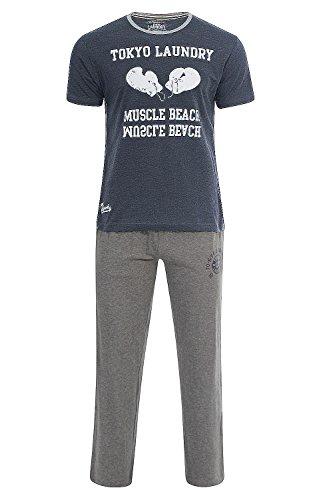 Hommes Set Pyjama 2 Pièces Tokyo Laundry Cohen Doux Fond de PJ & Top Pyjama - Jeans Foncé Marne, XL