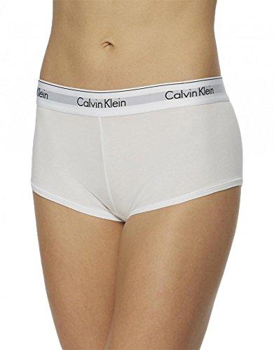 Calvin Klein Women's Regular Modern Cotton Boyshort Panty, White, Medium