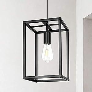 Modern Industrial Pendant Light Retro Loft Design Lantern Farmhouse Chandelier for Kitchen Island Dining Room Bedroom Entryway Foyer ( Black )