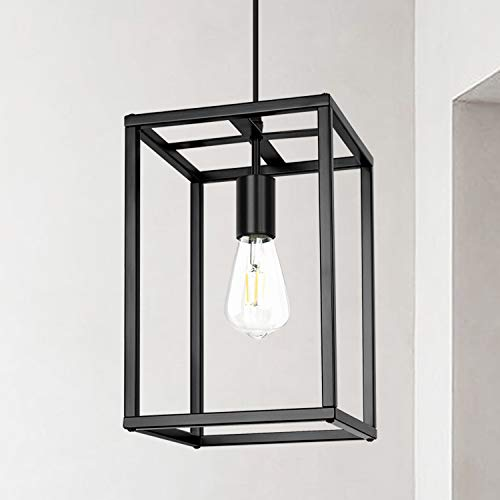 Modern Industrial Pendant Light Retro Loft Design Lantern Farmhouse Chandelier for Kitchen Island Dining Room Bedroom Foyer (Black)