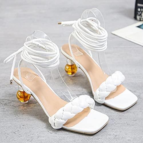 DZQQ Sexy Cristal Femmes Sandales 2021 été Mode Tissage mi Talon croisé Tissage Chaussures d'été personnalité Dame fête Chaussures Grand 43